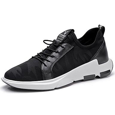 Herrn Schuhe Stoff Sommer Herbst Komfort Sportschuhe Walking Schnürsenkel für Normal Schwarz Grau Rot