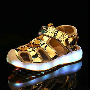Jungen Schuhe Künstliche Mikrofaser Polyurethan Sommer Komfort Leuchtende LED-Schuhe Sandalen Walking Für Normal Gold Silber Blau Rosa