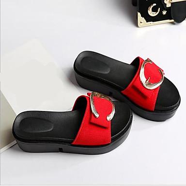 Damen Schuhe Nubukleder PU Frühling Sommer Komfort Sandalen Für Normal Schwarz Rot Grün