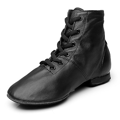 Women's Jazz Shoes Leather / Canvas Boots Flat Heel Customizable Dance Shoes Black / Performance