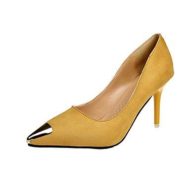 Damen High Heels Komfort Kaschmir Sommer Normal Walking Metall Zehen Stöckelabsatz Schwarz Gelb Hautfarben 7,5 - 9,5 cm