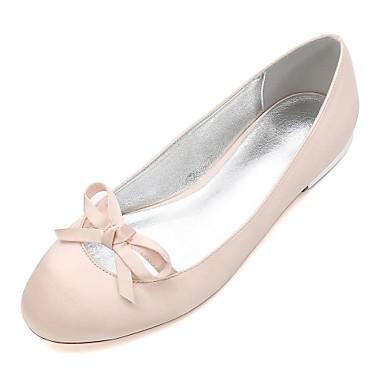 0b70f99f4b Damen Hochzeit Schuhe Flacher Absatz Runde Zehe Schleife / Satin Blume /  Blume Satin Komfort / Ballerina Frühling / Sommer Blau / Champagner /  Elfenbein ...