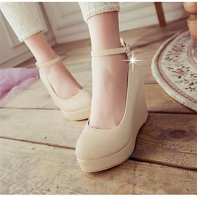 Damen Schuhe PU Herbst Komfort High Heels Für Normal Beige Blau Rosa