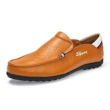 Férfi cipő PU Tavasz Ősz Kényelmes Papucsok & Balerinacipők Ráncolt mert Hétköznapi Fekete Világosbarna Sötétbarna