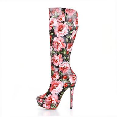 Damen Schuhe PU Herbst Winter Modische Stiefel Stiefel Runde Zehe Kniehohe Stiefel für Hochzeit Party & Festivität Kleid Rosa