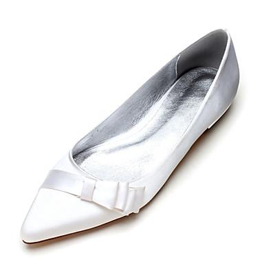 Női Cipő Szatén Tavasz Nyár Balerinacipő Kényelmes Esküvői cipők Lapos Erősített lábujj Csokor Szatén virág Kombinált mert Esküvő Party