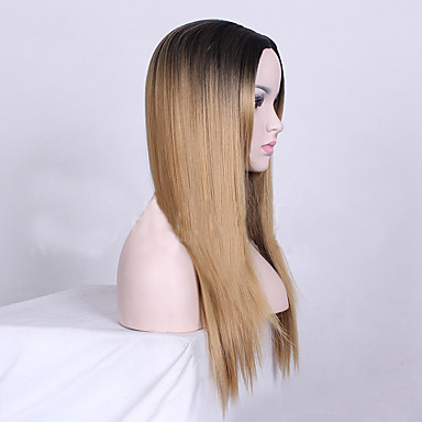 Synthetic Wig Straight Synthetic Hair Middle Part Wig Medium Length Capless