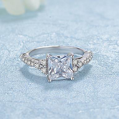 Damen Kubikzirkonia Zirkon / Platiert Bandring - Kreisförmig Elegant / Modisch Silber Ring Für Hochzeit / Verlobung / Alltag