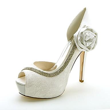 Női Tüll Tavasz / Nyár Formai cipő Esküvői cipők Tűsarok Köröm Strasszkő / Szatén virág Kék / Rózsaszín / Kristály / Party és Estélyi