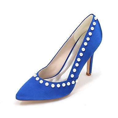 Női Cipő Szatén Tavasz / Nyár Magasított talpú Esküvői cipők Tűsarok Erősített lábujj Hamis gyöngy / Party és Estélyi
