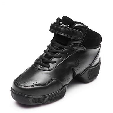 Damen Tanz-Turnschuh Leder Volle Sole Training Niedriger Heel Schwarz Unter 2,5 cm