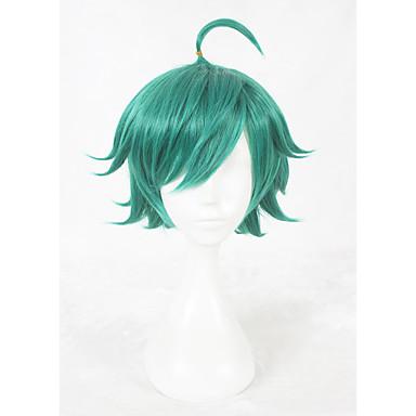 Szintetikus parókák Egyenes Sűrűség Sapka nélküli Zöld Jelmez paróka Rövid Szintetikus haj