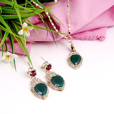 Women's Cubic Zirconia Jewelry Set - Cubic Zirconia, Gold Plated Classic, Fashion Include Pendant Necklace Necklace Green For Wedding Gift Daily
