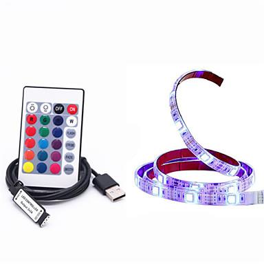 1m RGB Strip Lights 30 LEDs 5050 SMD 1 24Keys Remote Controller RGB Cuttable / USB / Waterproof 5 V / USB Powered 1set / IP65 / Linkable / Self-adhesive
