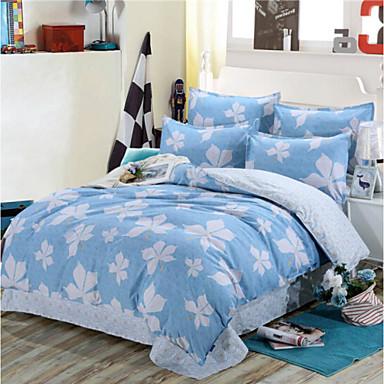 Blumen 4 Stück Baumwolle Druck Baumwolle 1 Stk. Bettdeckenbezug 2 Stk. Kissenbezüge 1 Stk. Betttuch