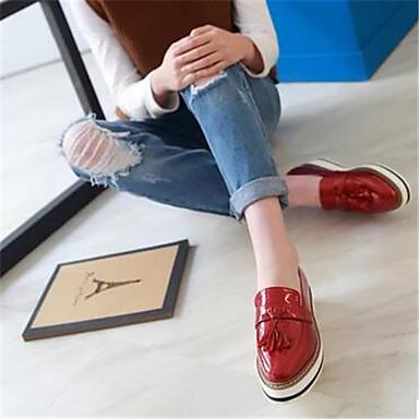 Damen Schuhe Lackleder Frühling Herbst Komfort Loafers & Slip-Ons Für Normal Weiß Schwarz Rot