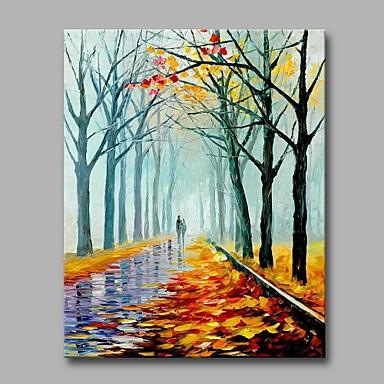 Hang festett olajfestmény Kézzel festett - Landscape Művészi Modern / kortárs Vászon
