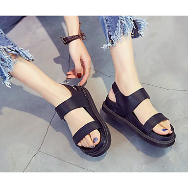 Damen Schuhe Echtes Leder Kunststoff Sommer Komfort Sandalen Für Normal Schwarz