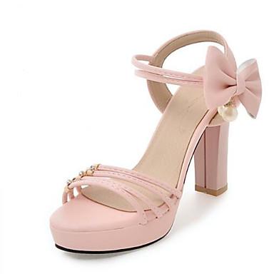 Damen Schuhe PU Frühling Sommer Komfort Sandalen Für Normal Weiß Schwarz Beige Purpur Rosa