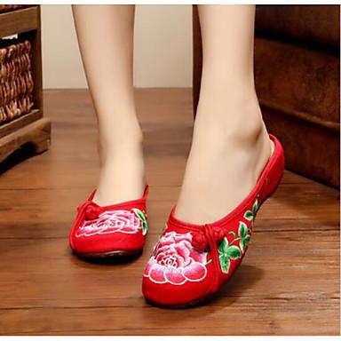Damen Schuhe Leinwand Sommer Komfort Slippers & Flip-Flops Für Normal Schwarz Rot Grün