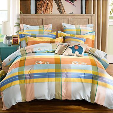 Schottenstoff/Kariert 4 Stück Baumwolle Baumwolle 4-teilig (1 Bettbezug, 1 Bettlaken, 2 Kissenbezüge)