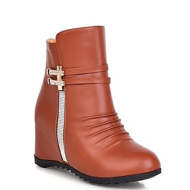 Damen Schuhe PU Winter Modische Stiefel Stiefel Keilabsatz Booties / Stiefeletten Für Normal Weiß Schwarz Braun
