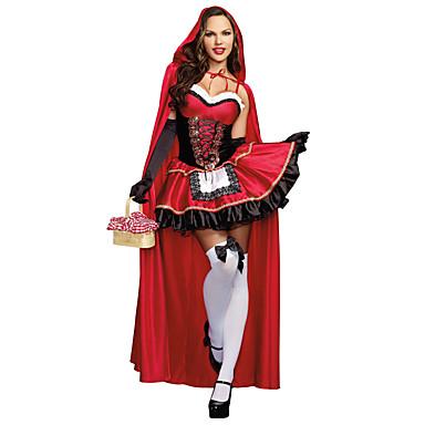 Lilla Rödluvan Cosplay Kostymer Dräkter Maskerad Kvinna Halloween Karnival  Festival   högtid Halloweenkostymer Röd Andra f10e83e8fc2ea