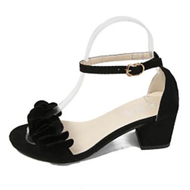 Damen Schuhe PU Frühling / Sommer Komfort Sandalen Blockabsatz Offene Spitze Schnalle / Blume Schwarz / Grau / Rosa / Party & Festivität