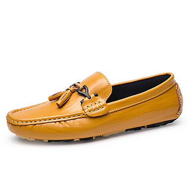 Men's Moccasin Cowhide Fall / Winter Loafers & Slip-Ons Black / Light Brown / Party & Evening