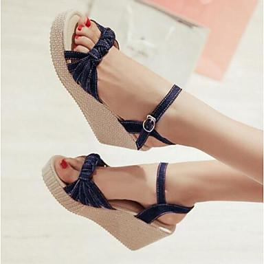 Damen Schuhe Denim Jeans Sommer Komfort Sandalen Für Normal Dunkelblau Grün Blau