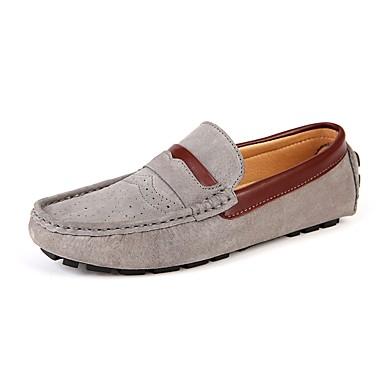 Men's Leather / Suede Spring / Summer / Fall Comfort Loafers & Slip-Ons Walking Shoes Black / Dark Blue / Khaki