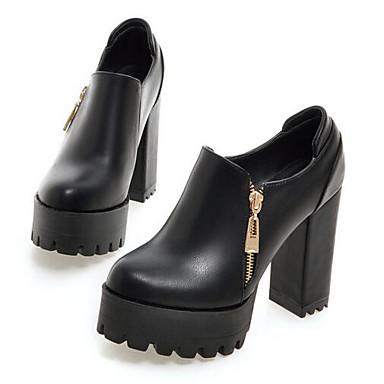 Damen Schuhe PU Frühling / Herbst Komfort High Heels für Normal Schwarz / Grau / Rot