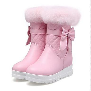 Damen Schuhe PU Winter Komfort Stiefel Für Normal Weiß Schwarz Rosa