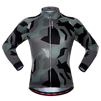 WOSAWE Langarm Fahrradtrikot - Camouflage camuflaje Fahhrad Trikot / Radtrikot, Rasche Trocknung Polyester, Elasthan