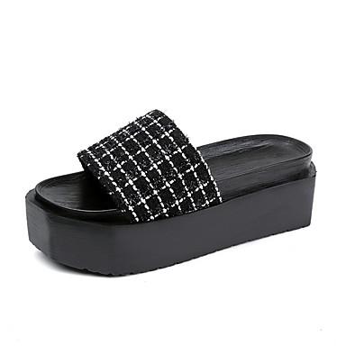 Damen Schuhe Stoff Sommer Komfort Slippers & Flip-Flops Walking Creepers Offene Spitze für Normal Weiß Schwarz