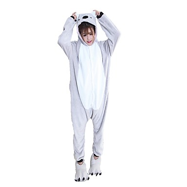 Kigurumi-Pyjamas mit Hausschuhen Koala Pyjamas-Einteiler Kostüm Flanell Grau Cosplay Für Erwachsene Tiernachtwäsche Karikatur Halloween Fest / Feiertage / Weihnachten
