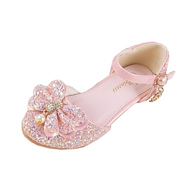 Lány Cipő Szintetikus Mikrorost PU Ősz / Tél Kényelmes / Újdonság / Virágoslány cipők Lapos Flitter / Csat mert Fehér / Rózsaszín