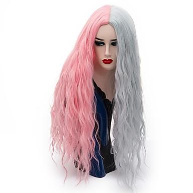 Szintetikus parókák Laza hullám Szintetikus haj Pink / Szürke Paróka Női Hosszú Természetes paróka / Party paróka / Halloween paróka