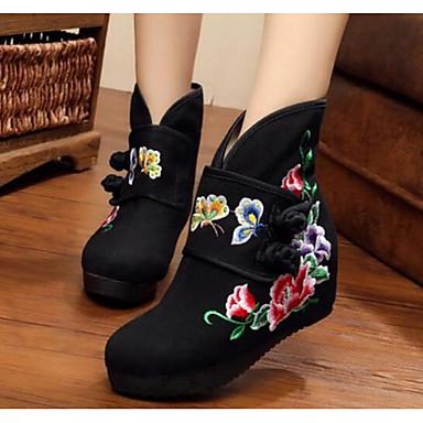 Damen Schuhe Leinwand Herbst Komfort Stiefel Für Normal Schwarz Rot