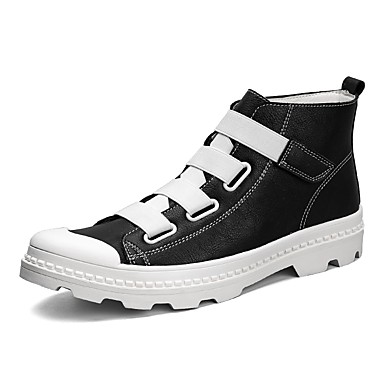 Men's Fashion Boots Leather / PU(Polyurethane) Spring / Fall Comfort Boots Mid-Calf Boots White / Black / Red