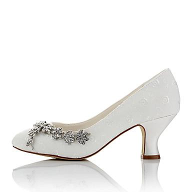 Chaussures Evénement rond Talons Mariage Chaussures Ivoire Bottier Confort Soirée Automne à Chaîne amp; Bout 06096473 Hiver Femme Satin Talon wXPxq4T0