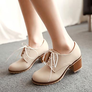 Damen Schuhe Nubukleder PU Frühling Komfort Flache Schuhe Für Normal Beige Leicht Rosa