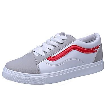 Damen Schuhe PU Sommer Komfort Sneakers Walking Flacher Absatz Runde Zehe Schnürsenkel für Normal Schwarz Rot
