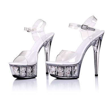 Bout Chaussures Rouge Talon Chaussures 06153124 Fleur Sandales formelles Fuchsia Cristal ouvert Eté Rose PVC Aiguille Boucle Femme fCwxq68d8