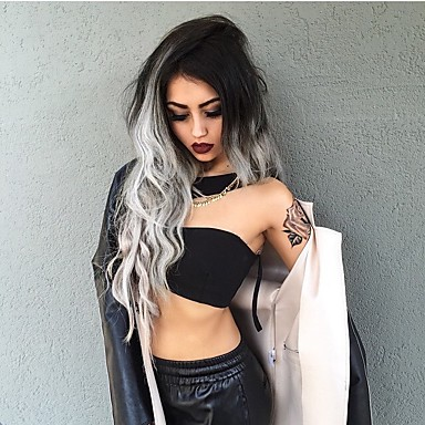 Synthetic Wig Wavy Middle Part Synthetic Hair Fashion / Ombre Hair Gray Wig Women's Medium Length Capless Black / Grey
