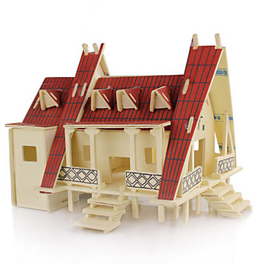 3D építőjátékok Fejtörő Wood Model tettetés DIY Fa Uniszex Ajándék