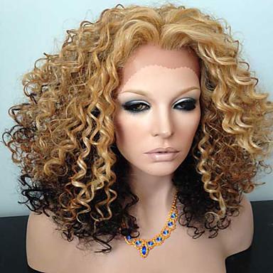 Emberi haj Csipke Paróka Kinky Curly 130% Sűrűség 100% kézi csomózású Afro-amerikai paróka Természetes hajszálvonal Ombre haj Rövid
