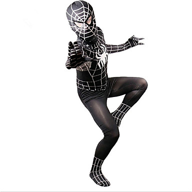 Zentai Suits Patterned Zentai Suits Cosplay Costume Outfits Super Heroes Spider Zentai Cosplay Costumes Black Print Leotard/Onesie Zentai