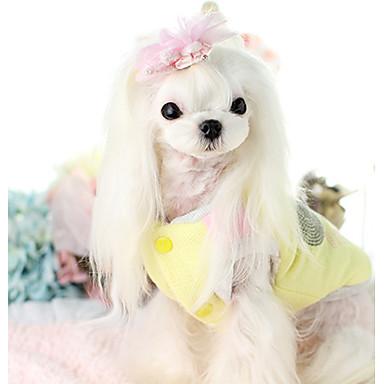 Hund Weste Hundekleidung Cartoon Design Beige Gelb Baumwolle Daune Kostüm Für Haustiere Lässig / Alltäglich
