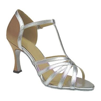 Női Latin cipők Műbőr Szandál Csat Kubai sarok Személyre szabható Dance Shoes Ezüst / Mandula / Teljesítmény / Bőr
